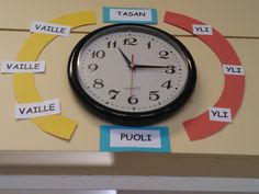 Kello Beginning Of School, Primary School, Pre School, School Classroom, Classroom Decor, Math Clock, Yoga Facts, Finnish Language, Early Math