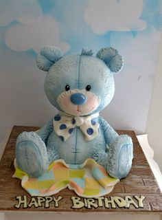 little cutie teddy bear cake>> by:sweet ruby cakes Teddy Bear Party, Teddy Bear Cakes, Teddy Bears, Fancy Cakes, Cute Cakes, Bolo Panda, Animal Cakes, Sculpted Cakes, Novelty Cakes