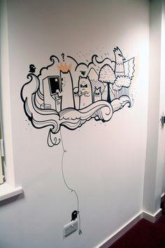 Sumo digital office murals i love doodle in 2019 pintura mur Office Mural, Office Walls, Office Art, Office Ideas, Office Decor, Doodle Art, Doodle Drawings, Mural Wall Art, Graffiti Wall