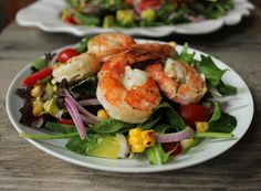 Summer Salad with Avocado, Corn and Grilled Herb Shrimp - Domesticate ME!