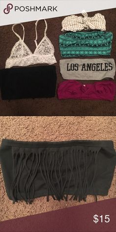 Bandeau/ bra bundle Bandeau/bra bundle.   this listing comes with 5 bandeaus and one Lacey bra.   the top right is a polka dot bandeau with a tie knot in the front. the black bandeau has fringe on it.  most of them are A-B cup,  but the black fringe could fit C Intimates & Sleepwear Bandeaus