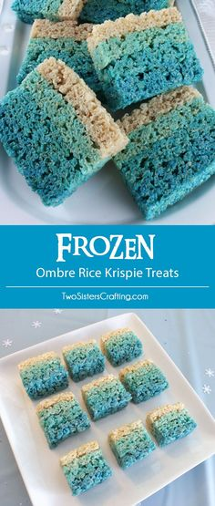 Disney Frozen Ombre Rice Krispie Treats - we made these beautiful Ombre Rice Krispie Treats for our Disney Frozen Birthday Party. They were a big hit and would be pretty in any color combination or for any special occasion or party. Pin for later and follow us for more great Frozen Party Ideas.