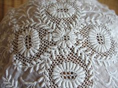 Victorian Edwardian Fine Muslin & Lace Maids Cap ~~ Whitework Embroidery.