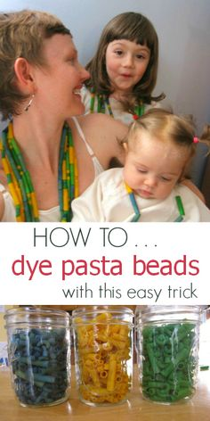 An easy tutorial for how to dye pasta for kids crafts, necklaces, and collage art -- Must try!