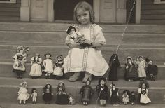 Alice Fairfax, with part of doll collection. Circa 1913-1915