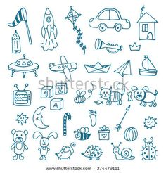 Hand drawn toys for boys. Vector set of different toys. Vector illustration