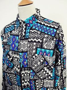 Vintage 90s Geometric Jazz Abstract American Cowboy Western Shirt XL
