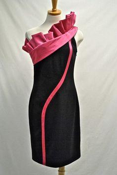 Emanuel Ungaro One Shoulder Ruffle Dress NWT sz 38 US 2 Wool Satin $2,770