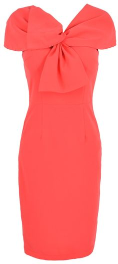 'Kate' Coral Twist Front Capsleeve Stretch Crepe Pencil Dress
