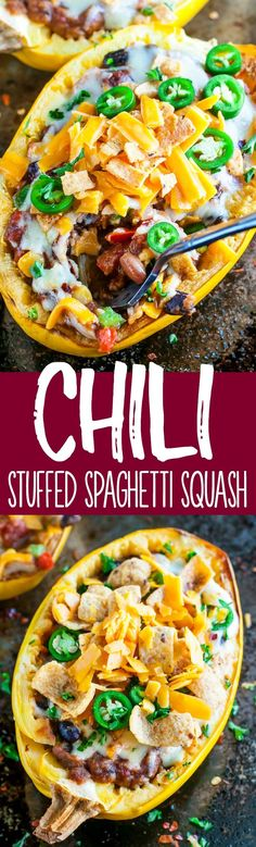 These easy cheesy Chili Stuffed Spaghetti Squash are 100% vegetarian and totally crave-worthy! Each GF squash boat can easily be made vegan or paleo too! Vegetable Recipes, Vegetarian Recipes, Healthy Recipes, Veggie Meals, Sin Gluten, Vegan Blog, Courge Spaghetti, Clean Eating, Healthy Eating