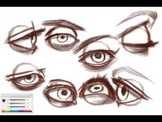 How to Draw Eyes by Sycra on YouTube.  This video really highlights the different shapes an eye can take when viewed from different angles.  Notice the placement of the pupil in side views.
