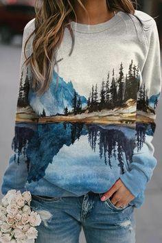 Reflection Nature Landscape Painting Mountain Forest River Print T-shirt Sport Pullover, Pullover Hoodie, Hoodie Sweatshirts, Printed Sweatshirts, Hoodies, Violet Rouge, Bleu Violet, Sweat Shirt, Orange Gris