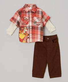 Take a look at this Orange Plaid Pooh & Tigger Pants Set - Infant by Winnie the Pooh on #zulily today!