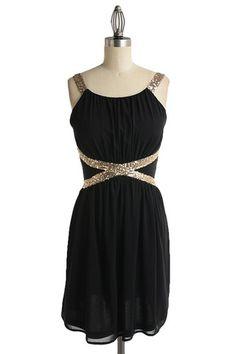 Black dress gold belt quiet