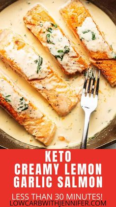 This Keto Salmon Recipe is perfectly seasoned pan seared filets smothered in an unbelievably delicious creamy lemon garlic sauce. Feel Top Chef worthy while preparing this less minute low carb gourmet dinner recipe in the comfort of your own kitchen. Healthy Salmon Recipes, Fish Recipes, Seafood Recipes, Keto Recipes, Cooking Recipes, Fish Recipe Keto, Atkins Recipes, Protein Recipes, Healthy Meals