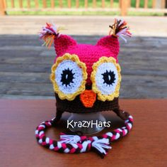 Crochet owl hat set.Hatlegwarmershand warmers. by KrazyHats1