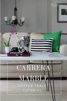 How to DIY a Marble Coffee Table using a slab of Carrera marble and midcentury hairpin table legs. Cool Diy Projects, Home Projects, Furniture Makeover, Diy Furniture, Interior Exterior, Interior Design, Interior Ideas, Pinterest Home, Living Room Decor