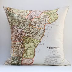 Ready to Ship VERMONT Vintage Map Pillow 18x18 Cover by saltlabs, $49.00