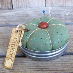 Green Speckled Mason Jar Lid Pincushion, Pinkeep, Sewing Accessory, Pin Holder, Rustic Country Decor, Rainbow Dots