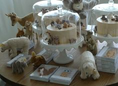 Wow! how adorable! From Alexis Stewart's blog...birthday cakes for Martha's grand baby, Jude...love this whole display!