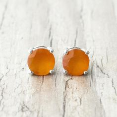 Garnet Gemstone, Gemstone Earrings, Stud Earrings, Simple Earrings, Sterling Silver Earrings Studs, Gifts For Him, Fine Jewelry, Gemstones, Orange