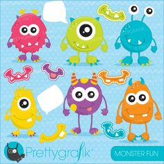 Monster fun clipart - cute little monsters perfect for embroidery, crafts and scrapbooking.