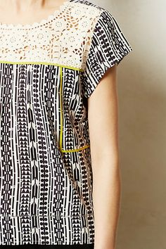 brighten up the b&w print with white lace & pop of yellow