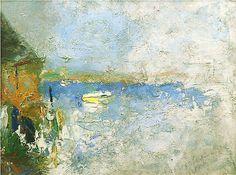 """O'Neil's Wharf,"" Edwin Dickinson, 1913, oil on board, 12 x 16"", Hollis Taggart Galleries."
