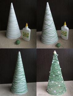 Threads wrapped Christmas tree
