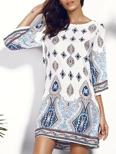 Casual Scoop Neck Floral Print Hollow Out Dress For Women.