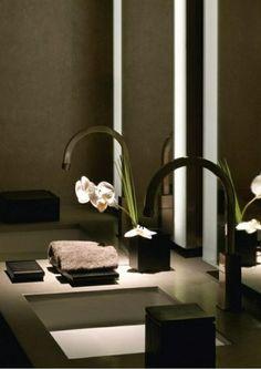 dunkel einrichtung badezimmer ideen bilder waschbecken