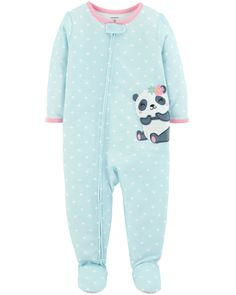 ive your cutie sweet bedtime style with these girls' Carter's panda bear polka-dot footed pajamas. Baby Girl Pajamas, Carters Baby Girl, Toddler Girl, Baby Girls, Baby Boy, Toddler Toys, Knitting Baby Girl, One Piece Pajamas, Girls Sleepwear