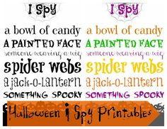 Tutus and Tea Parties: Free Halloween Printable | I Spy Printable