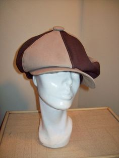 8e771c5bf42ea3 Vintage 70s Two Tone Brown Newsboy Cabbie Applejack Hat / Mod Hipster Pimp  Style Newsy Cap / Disco Chic