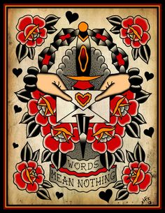 Words Mean Nothing Tattoo Flash | KYSA #ink #design #tattoo