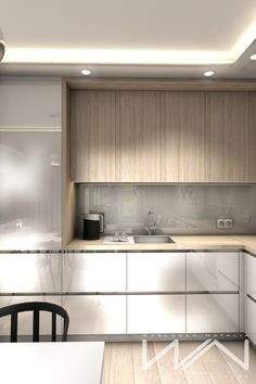 Project apartment Gdynia Wiczlino - Part 2 on Behance Kitchen Room Design, Kitchen Dinning, Modern Kitchen Design, Living Room Kitchen, Home Decor Kitchen, Interior Design Kitchen, Kitchen Furniture, Home Kitchens, Cheap Furniture