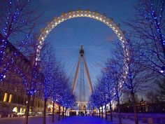 "LED Lighted Famous Giant Ferris Wheel The London Eye Scene Canvas Wall Art 11.75"""" x 15.75"""""