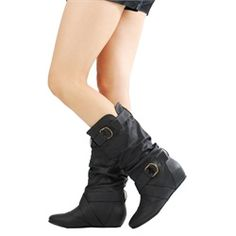 Candies42 Slouch 2 Buckle Wedge Boots Black - $24.50
