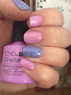 Summer 2015 CND Shellac Beckoning Begonia & Wisteria Haze with Baby Blue iridescent glitter