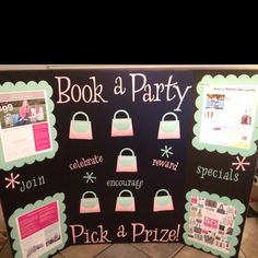 My Thirty-One booking board.  Everything (letters, purses, borders) done on my Cricut Expression.