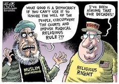 Regardless, I still think we have it way better in America. We just can't slack off and drop the ball. We must always fight for a secular society. Muslim Brotherhood, Tomorrow Will Be Better, Political Cartoons, Political Satire, Look In The Mirror, Atheism, Social Issues, Me On A Map, Religion