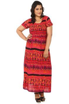 LI Plus Size Red Smoked Beach Gown!
