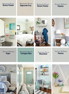 The DIY Playbook's Favorite Paint Colors | Nice collection showing the different undertones in gray paint.