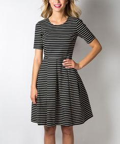 Another great find on #zulily! DownEast Basics Black & Egret Shout Out Dress - Women by DownEast Basics #zulilyfinds