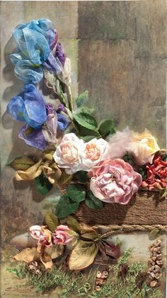 Wonderful Ribbon Embroidery Flowers by Hand Ideas. Enchanting Ribbon Embroidery Flowers by Hand Ideas. Silk Ribbon Embroidery, Beaded Embroidery, Embroidery Stitches, Hand Embroidery, Embroidery Supplies, Embroidery Ideas, Ribbon Art, Ribbon Crafts, Silk Flowers
