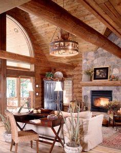 Great room.    www.logcabinhomes...