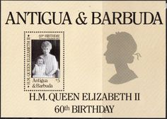 Antigua 1986 Queen Elizabeth II 60th Birthday Miniature Sheet Fine Mint SG 1008 Scott 928 Other Antigua Stamps HERE