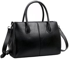 Iswee Genuine Leather Tote Shoulder Bag Cross Body Purse and Handbags for Women Black >>> For more information, visit image link.