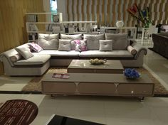 All Things Furniture   Contemporary Comfy Fabric Sectional Sofa