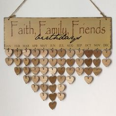 $11.06 DIY Wooden Faith Family And Friends Birthday Calendar Reminder Board - Gray